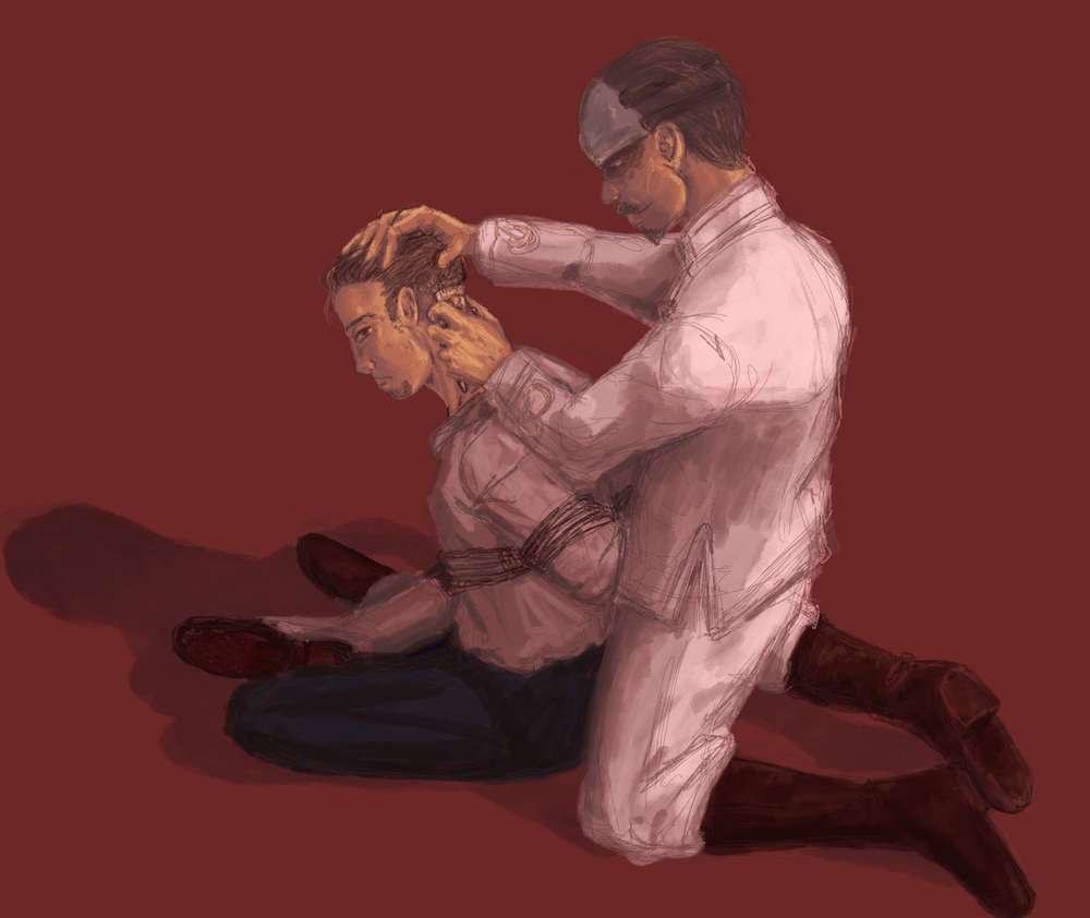 ogata has his hands tied behind his back while Tsurumi shaves his hair with manual clippers